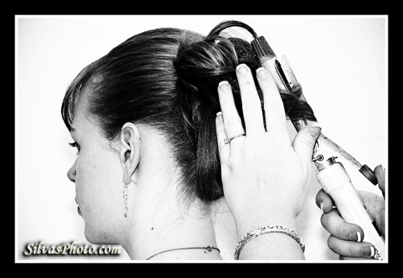 Fixing wedding hair