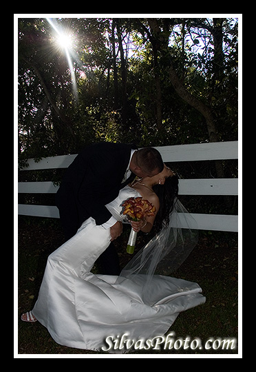 Bride and Groom against Sun in Alhambra Hall in Mt. Pleasant, South Carolina