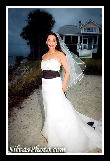 Bride by beach Charleston Harbor Resort and Marina