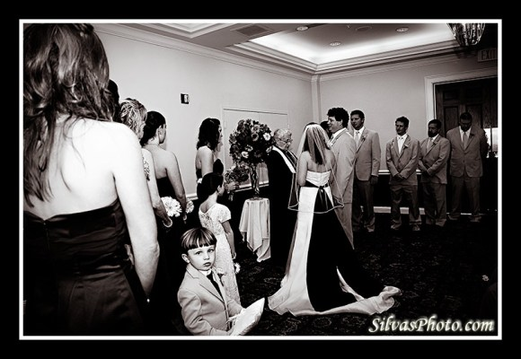 Boy during wedding ceremony in Charleston Harbor Resort and Marina, Mount Pleasant, South Carolina