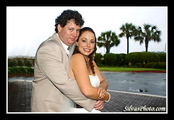 Bride and Groom in Charleston Harbor Resort and Marina, Mount Pleasant, South Carolina