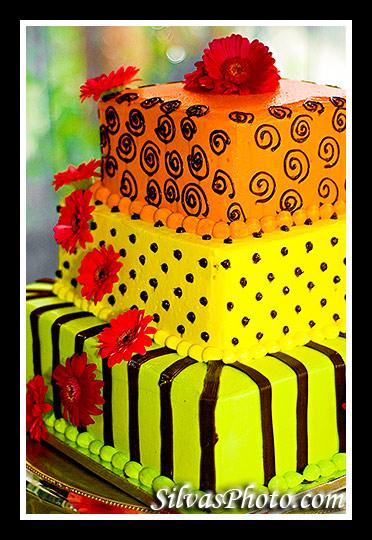Colorful Wedding Cake in Charleston Harbor Resort and Marina, Mount Pleasant, South Carolina