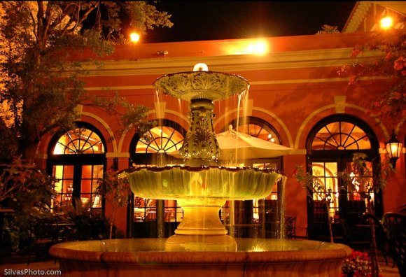 Downtown Charleston Fountain at night