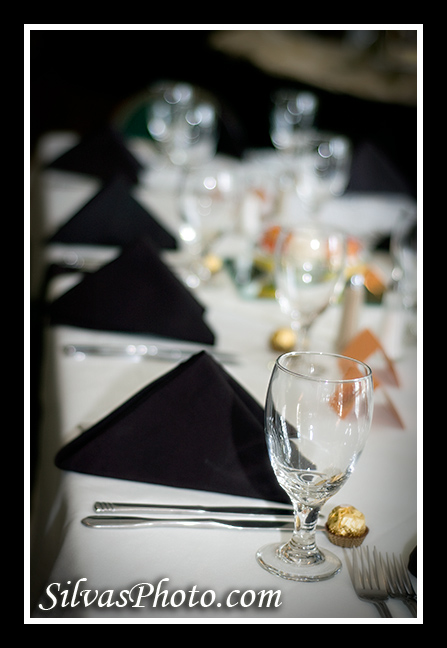 Black Table Napkins at Wedding Reception
