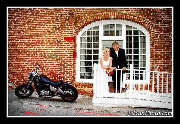 Brian Silvas - Bride and Groom with motorcycle