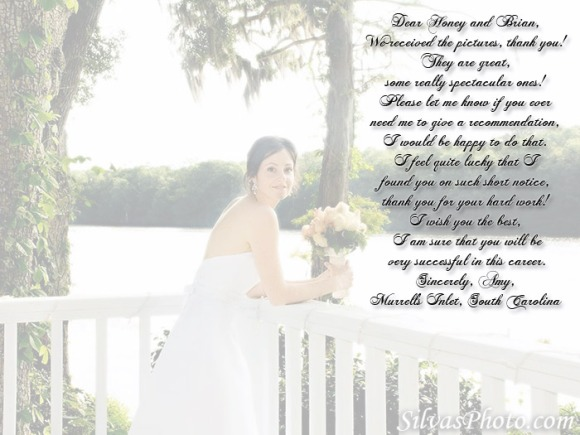 charleston wedding photographer testimonial