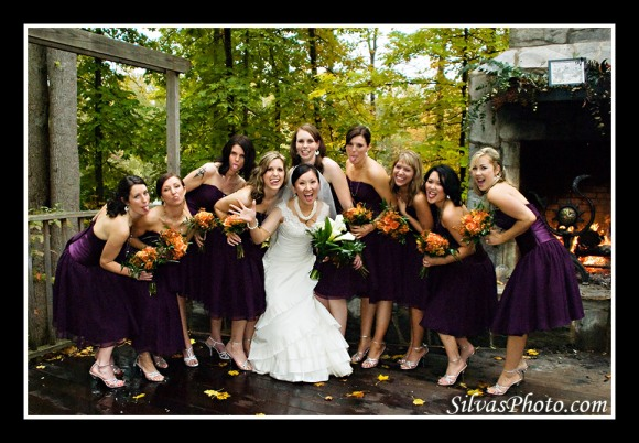 Bride with Bridesmaids in Chapel Hill, North Carolina